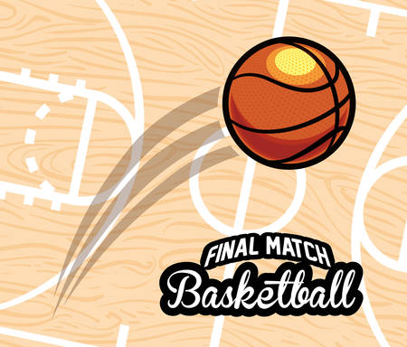 balon de basketball: diseño del emblema del baloncesto Vectores