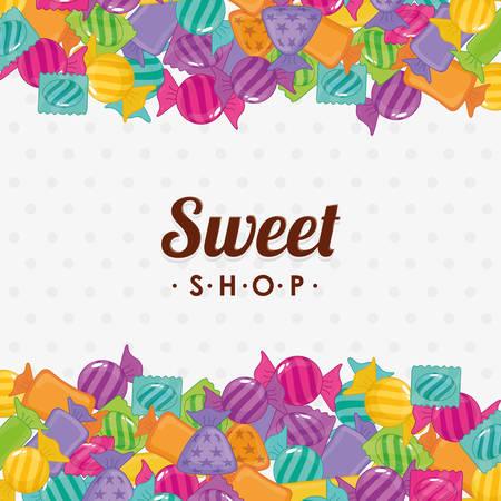 sweet shop: dise�o de la tienda dulce, ejemplo gr�fico del vector eps10