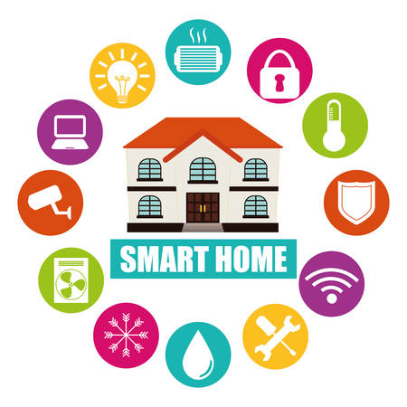 home construction: smart home design, vector illustration eps10 graphic