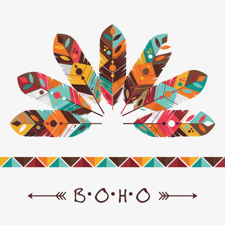 boho: feather decoration design, vector illustration eps10 graphic