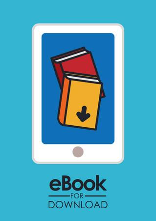 eBook design over blue background, vector illustration.