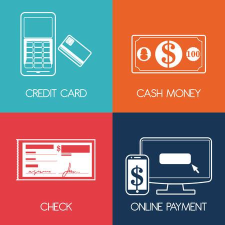monet: Payment design over colorful background, vector illustration.
