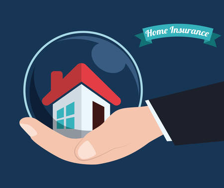 home  insurance: Insurance design over blue bacakground, vector illustration. Illustration