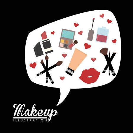 mirrow: Make up design over black background, vector illustration. Illustration