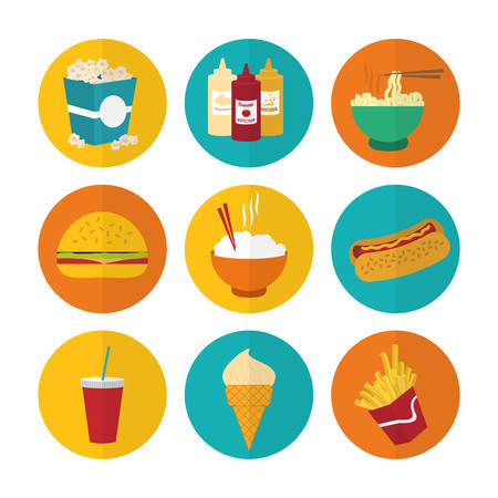 Food design over white background, vector illustration. Çizim