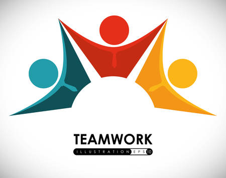 contact person: Teamwork design over white background, vector illustration.