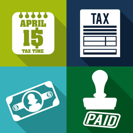 reckoning: Taxes design over colorful background Illustration