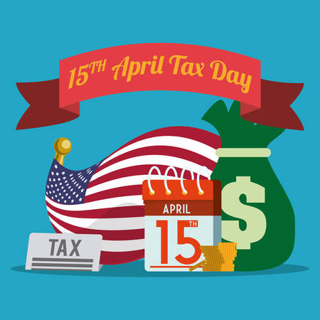 payday: Taxes day design over blue background