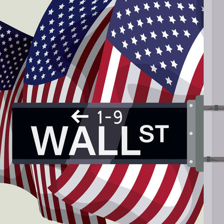 street market: Wall street design over flags background