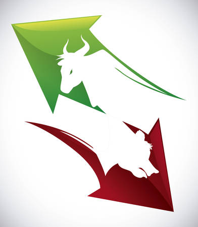 Wall street bull and bear design over white background