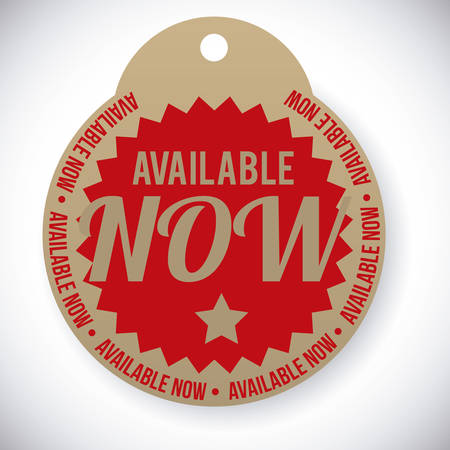available: Available now Label design over white background
