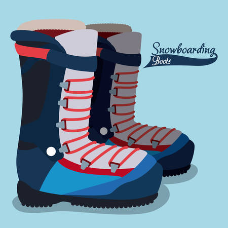 snowboarding: Snowboarding boots design illustration.