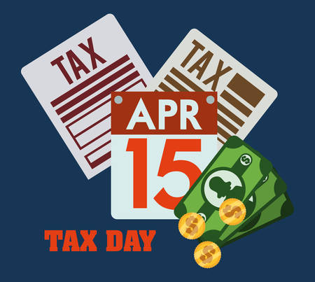 reckoning: Tax day design over blue background