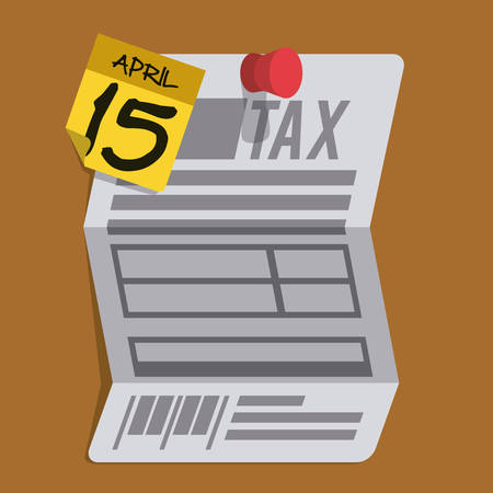 reckoning: Tax form design over brown background