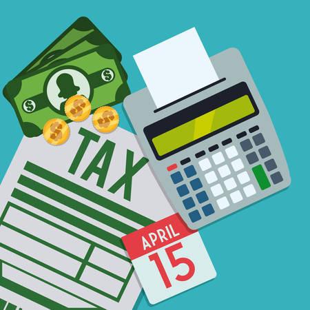 tax time: Tax form design over blue background Illustration