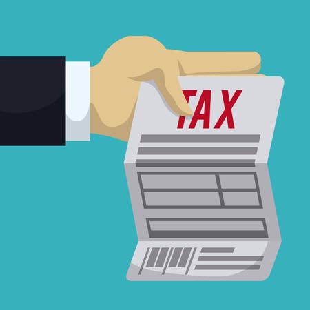 reckoning: Tax form design over blue background Illustration