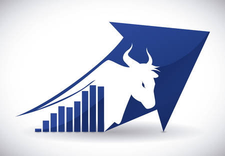 Wall street bull design over white background Çizim