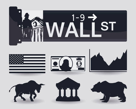 wall street: Wall street design over white background, vector illustration.