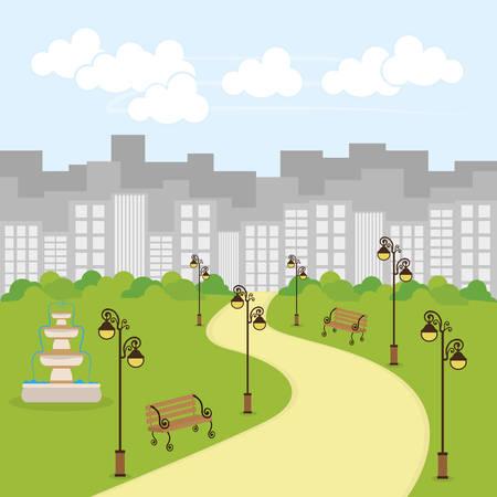 fair play: Park design over cityscape background