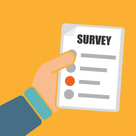sign contract: Survey design over yellow background