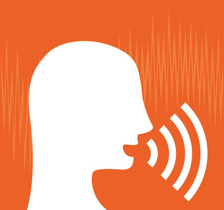 Diseño de sonido de voz sobre fondo naranja
