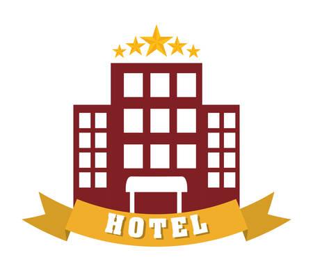 5 door: Hotel design over white background Illustration