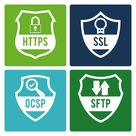 https: Security design over white background, vector illustration.