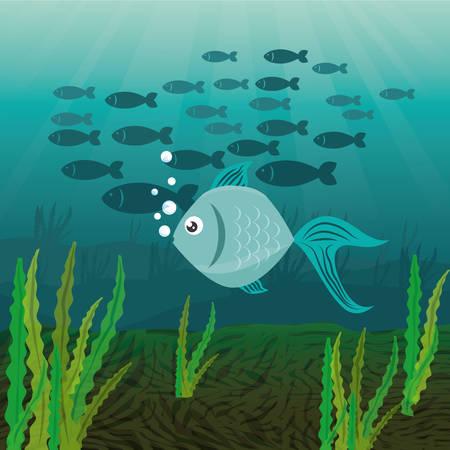 Fish design over white background, vector illustration. Ilustração