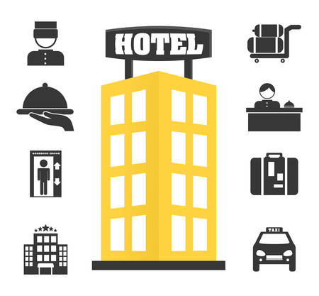 ホテル デザイン ベクトル イラスト白い背景の上。  イラスト・ベクター素材