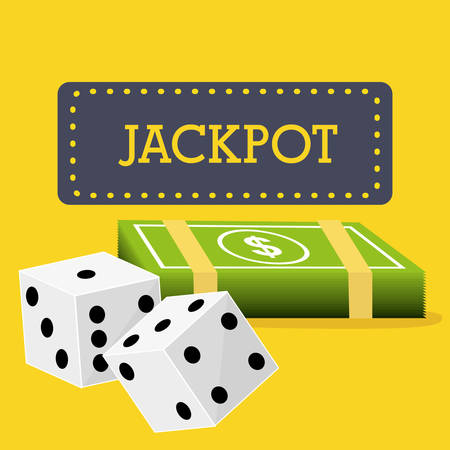 wining: Casino design over yellow background, vector illustration. Illustration