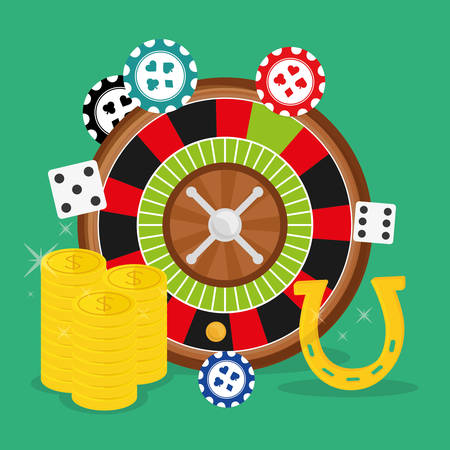 wining: Casino design over green background, vector illustration.