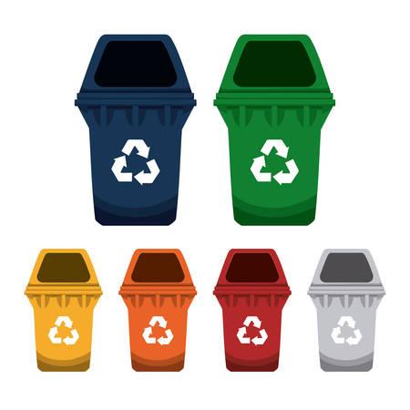 botes de basura: Diseño de reciclaje sobre fondo blanco, ilustración vectorial.