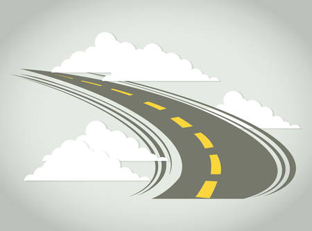 Road design over cloudscape background, vector illustration.