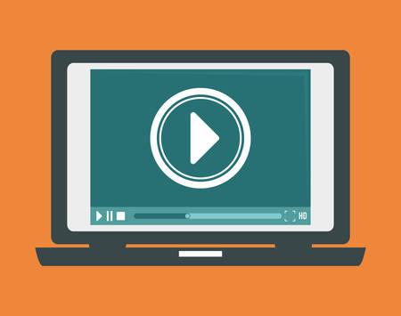 multimedia background: Multimedia design over orange background, vector illustration. Illustration