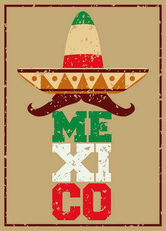 Mexico  mexican culture card design, vector illustration.