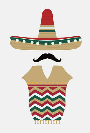 mexican hat: Mexico  mexican culture card design, vector illustration.