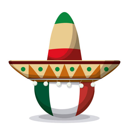 party hat: Mexico  mexican culture card design, vector illustration.