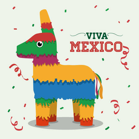 donkey: Mexico  mexican culture card design, vector illustration.
