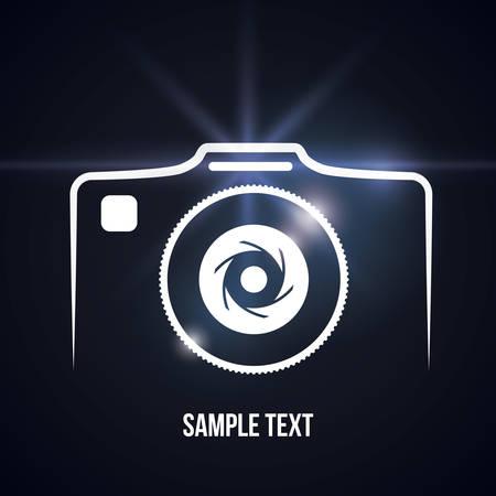camera lens: Camera design over black background, vector illustration.