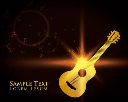 gold record: Guitar design over black background, vector illustration.