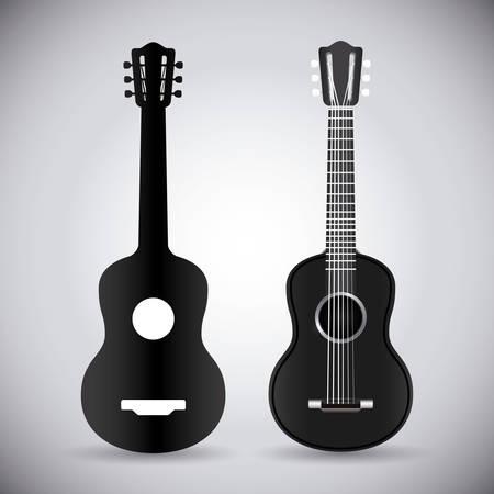 guitarra acustica: Diseño de la guitarra sobre fondo blanco, ilustración vectorial.