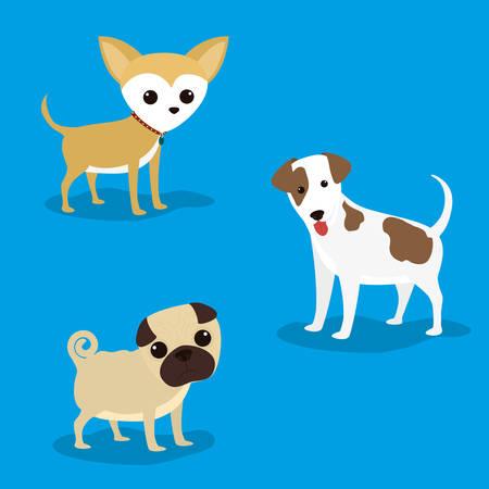 Dog design over blue background, vector illustration. Illustration
