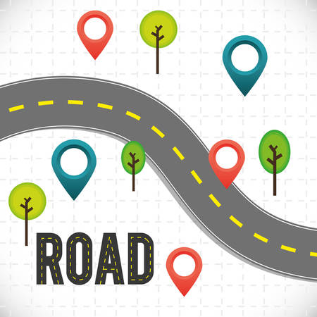 Road design over white background, vector illustration. Illustration