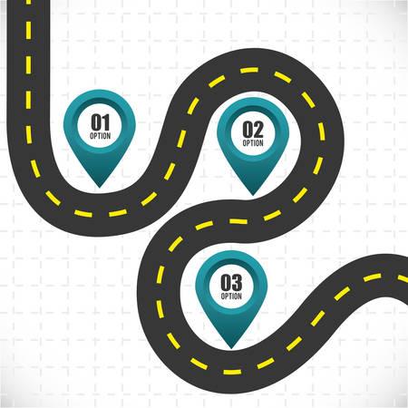 白い背景に、ベクトル図で道路設計。