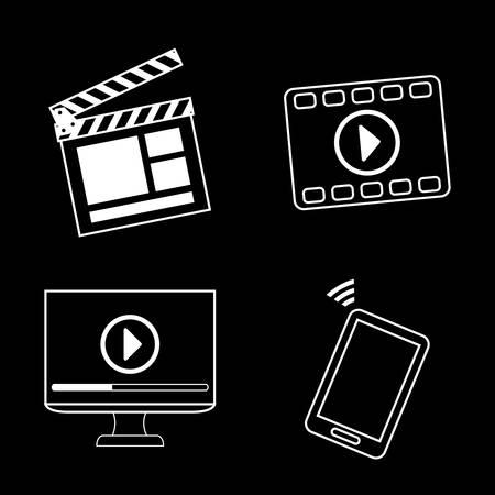 Multimedia design over black background, vector illustration. Vector