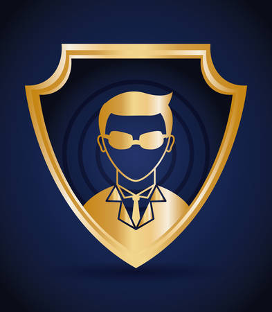 Security design over blue background, vector illustration. Illustration