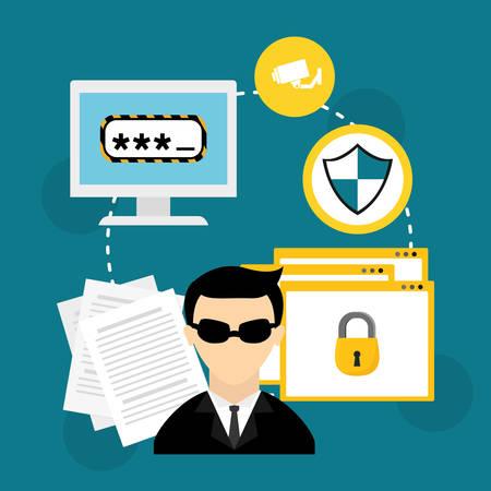 Security design over blue background, vector illustration. Vettoriali