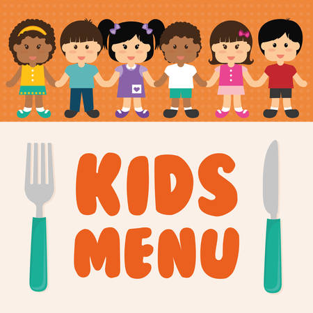 baby cutlery: Kids menu design over colorful background, vector illustration.