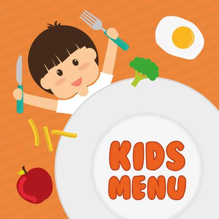 juniors: Kids menu design over orange background, vector illustration.