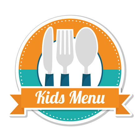 baby cutlery: Kids menu design over white background, vector illustration.